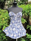 1950's Blue and white printed cotton strapless vintage swimsuit by Sabrin **SOLD**